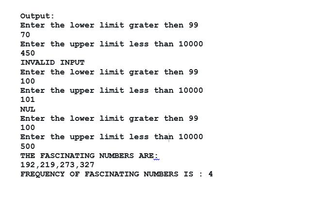 Fascinating number program